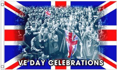 V E Day Victory in Europe Celebration Union Jack 5'x3' (150cm x 90cm) Flag